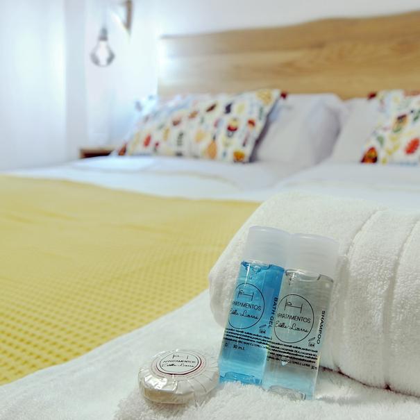 Apartamento Estella-Lizarra I  detalle amenities y camas