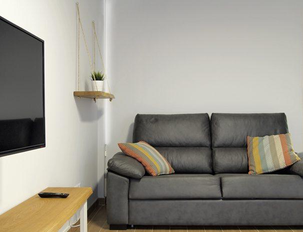 Salón sofá y tv