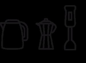 icono hervidor agua, cafetera, batidora
