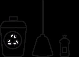iconos utensilios y productos de limpieza